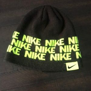 Nike black and neon green youth beanie hat